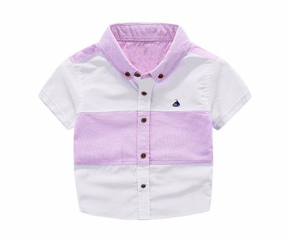 Camisa Social Infantil Menino Masculino Manga Curta