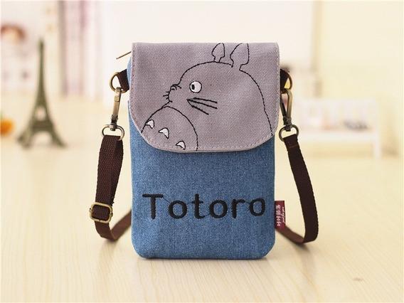 Mini Bolsa P/ Smartphone Jeans Totoro Azul - Frete Grátis