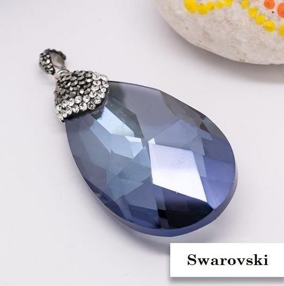 Dije Piedra Swarovski Azul - Acero Quirúrgico 316l