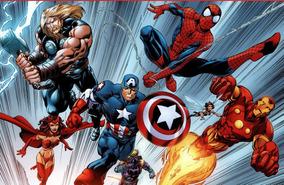 Painel Banner Tecido Fosca Marvel Super Herois 3x2m