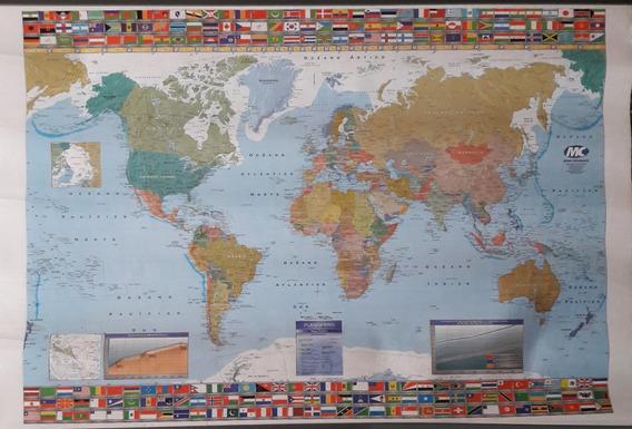 Mapa Planisferio Político Laminado Plástico 95 X 62 Cm