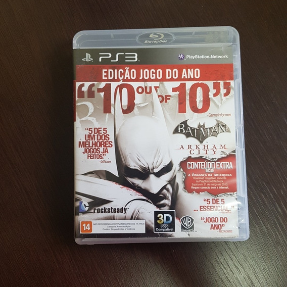 Batman Arkham City - Ed Jogo Do Ano - Ps3 - Mídia Física