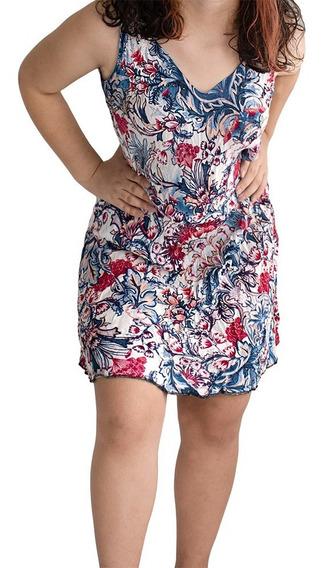 Vestido Curto Feminino Soltinho De Viscose Estampado 3 Peças