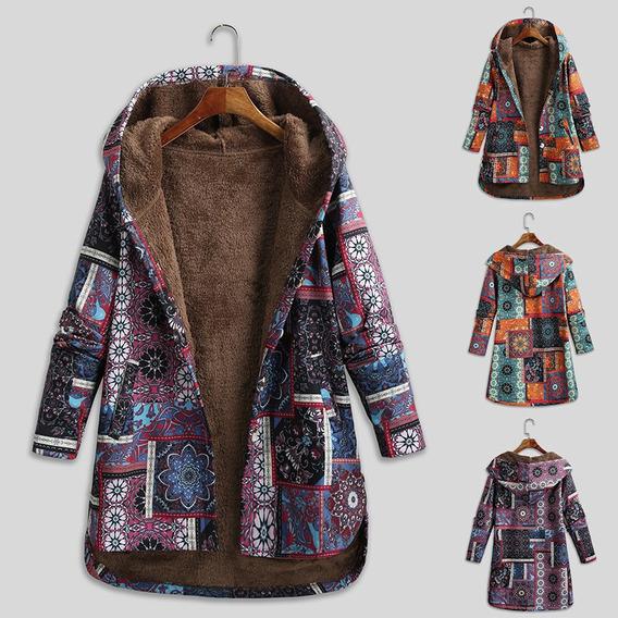 Abrigo Con Capucha Floja Vintage Para Mujer Forro Polar