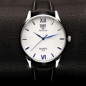 Relógio Masculino Yazole Luxo Barato Pulseira Couro Quartzo