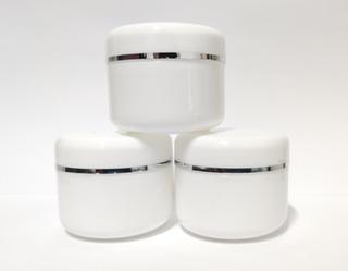 10 Envases Pomadero Blanco Con Filo Plateado Doble Tapa 50g
