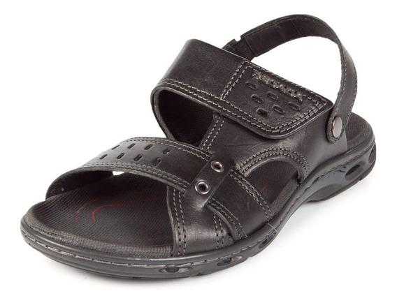 Sandália Pegada Masculino Couro Velcro Marrom