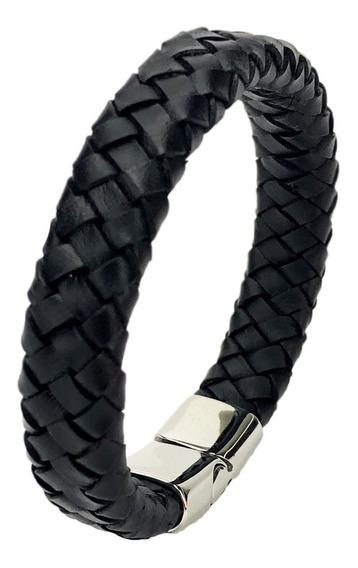 Pulseira Masculina Bracelete Style Couro Trançado E Aço 19cm