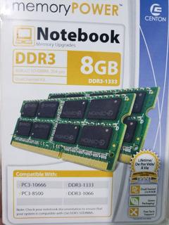 Centon - Memoria Ram Pc3-10600 Ddr3 Sodimm - 8 Gb - Verde