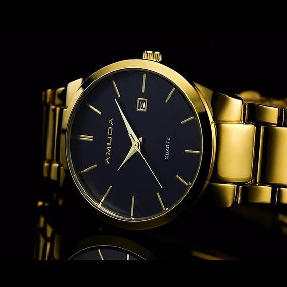 Relógio Dourado De Luxo Amuda