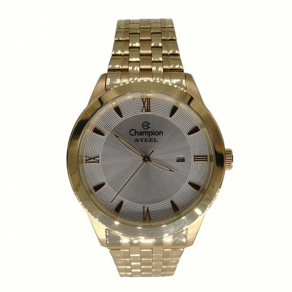 Relógio Champion Masculino Dourado Com Calendário