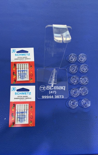 Imagem 1 de 1 de Kit 10 Agulhas Para Bordar Schmetz + Porta Fio + 10 Bobinas