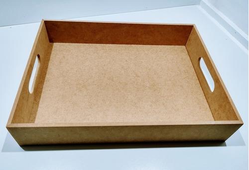 Imagem 1 de 3 de Kit 10 Bandejas Retangular Reta Mdf 6mm - 36x28x6