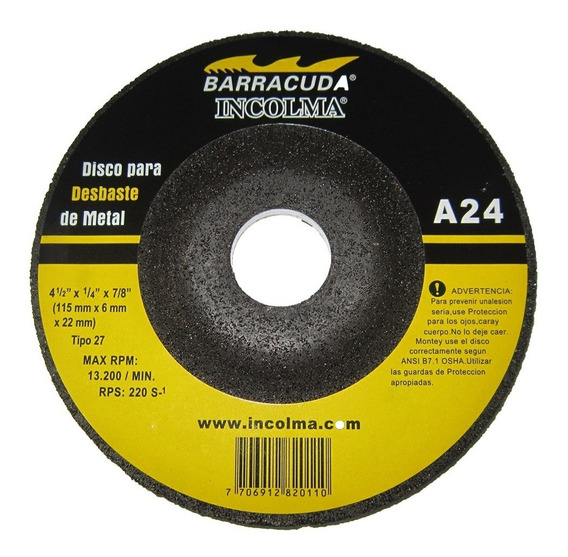Disco Para Desbaste De Metal A24 4-1/2 X 1/4 X 7/8