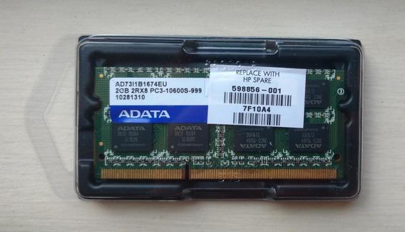 Memória Ram Notebook 2gb Ddr3 Pc3 10600s 999 2rx8 Adata