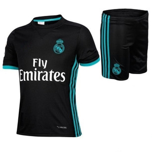 Kit Camiseta Short Futbol Real Madrid Suplente Niño Nene