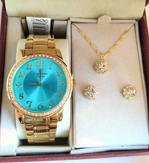 Relógio Banhado A Ouro Champion Cn29463y + Colar E Brinco Nf