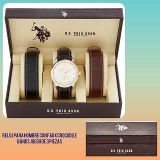 Juego De Reloj Polo Original Hombre Y 2 Correas