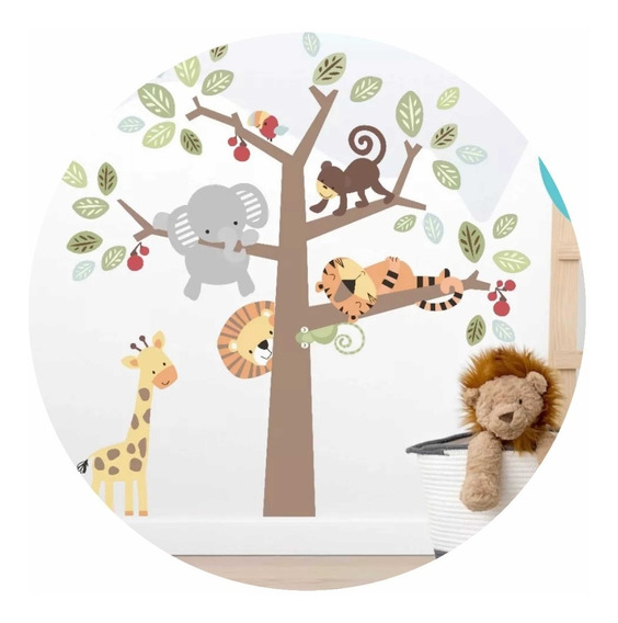 Vinilo Decorativo Infantil Arbol Con Animales Bebe 137x137