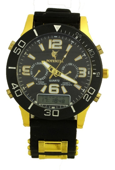 Promoção Relógio Pulso Masculino Potenzia Fundo Preto B5672
