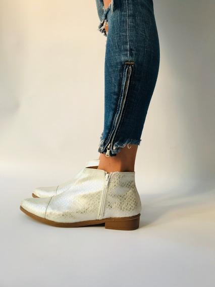 Zapato Mujer Punta Calzado Chatita Con Cierre Comodos
