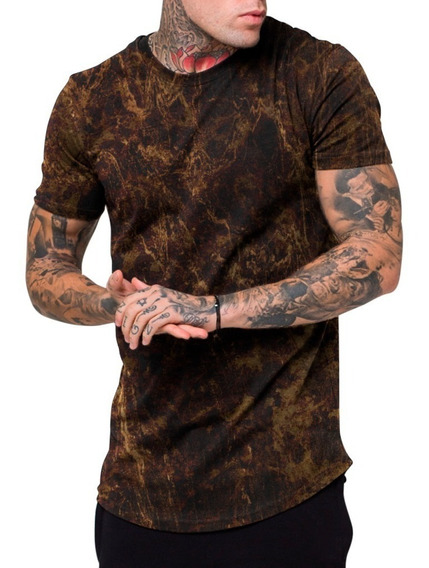 Camiseta Camisa Masculina Long Line Estampada Camuflada Topp