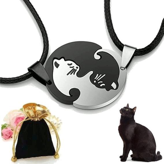 Colar Duplo Cat Love Titanio Amizade Amor Gatos Yin Yang