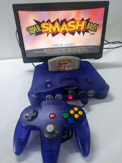 Nintendo 64 Edição Uva C/ Fita Super Smash Bros 1 Controle