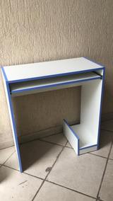 Mesa Para Computador Mdf Branco Com Filete Azul