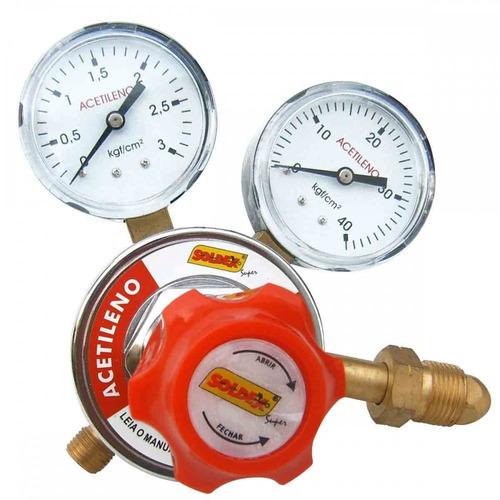 Regulador De Pressão Acetileno Com 2 Manômetro Ss-201 Soldex
