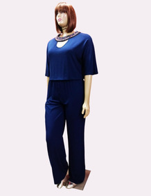 Macacão Plus Size Blusê Malha E Bordado- 672