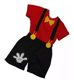 Roupa Do Mickey: Conjunto Infantil Fantasia Personagem 3 Pçs