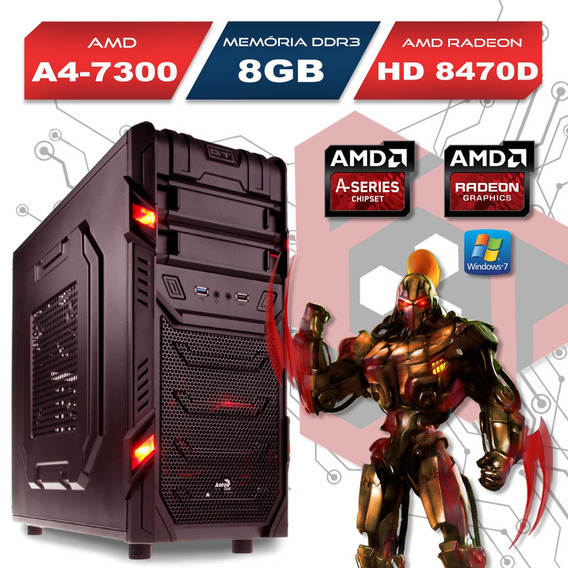 Computador Gamer Gt Amd A4 7300 8gb Hd8470d 500gb Windows 7