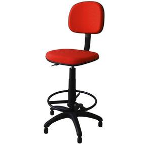 Cadeira Caixa Alta Secretária Estofada Tecido Vermelho