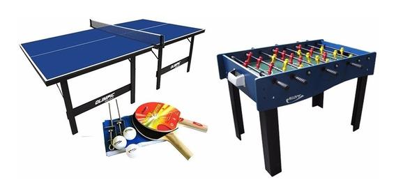 Combo Mesa De Pebolim + Mesa Ping Pong + Jogo De Raquetes Kl