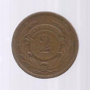 Moeda Bronze 2 Dois Centésimos Peso 1869 Oriental Uruguai.