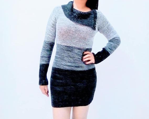 Vestido Casual Tejido Crochet Gris Negro Mujer Juvenil Usado