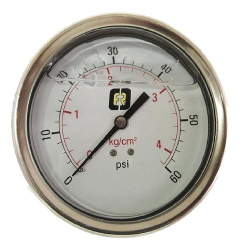 Imagen 1 de 4 de Manómetro Glic 0a60psi Conex Trasera Bronce Caratula 4 PuLG