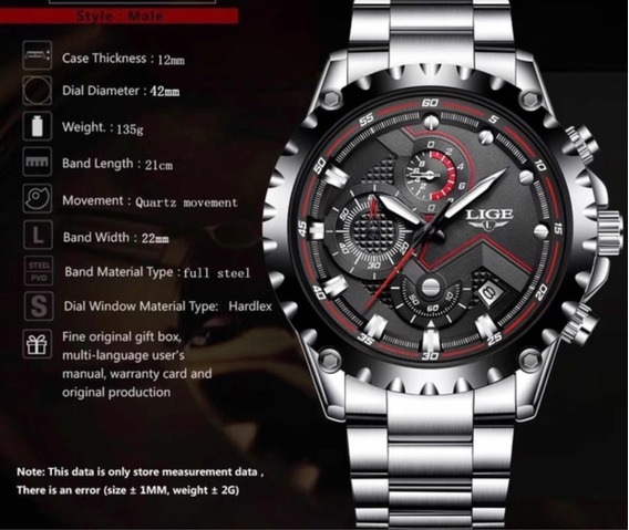 Relógio Lige Masculino, Aço Inox, Modelo 9821.