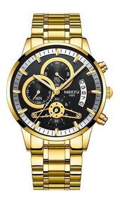 Relógio Nibosi Luxo Dourado 100% Funcional Com Caixa