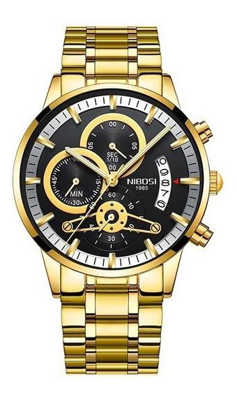 Relógio De Luxo Original Nibosi Dourado 100% Funcional