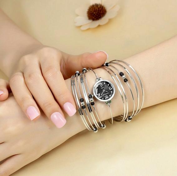 Relógio Feminino Prateado Pulseira Aço Inox Barato Promoção