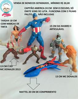 Lote Cap America Panthro Homem Ferro Tarzan Mutante Rex Sm @