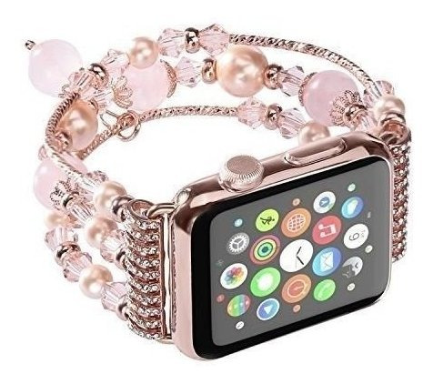 Pulsera De Perlas De Imitación Gemek Apple Watch Rosa