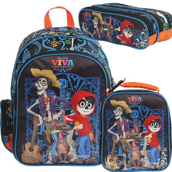 Kit Mochila Lancheira Estojo Viva Coco Disney Pixar Dermiwil