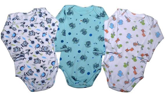 Kit C/3 Body Estampado De Bebê Menino Manga Longa Ou Curta