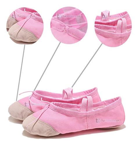 Zapatilla Ballet Lona Puntera Cuero Rosa Danza -tuproductouy