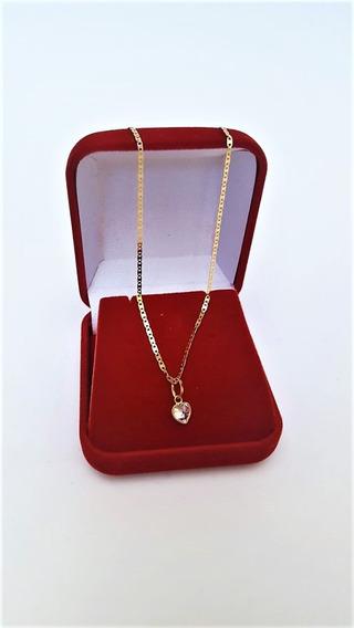 Correntinha Feminina Em Ouro 18k Piastrine 45cm Ping Coração