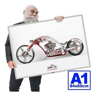 Poster Moto Antiga Chooper Rockposters A1 84x60cm 07