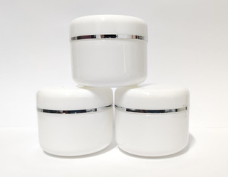 10 Envases Pomadero Blanco Con Filo Plateado Doble Tapa 250g